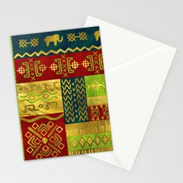 Ethnic African Golden Pattern on color Stationery Cards