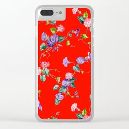 morning glories on red Clear iPhone Case