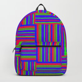 Blue And Red Weaved Squares Backpack