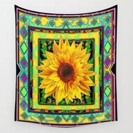 Green-Teal--Purple & Yellow Patterns Sunflower Art  Abstract Wall Tapestry