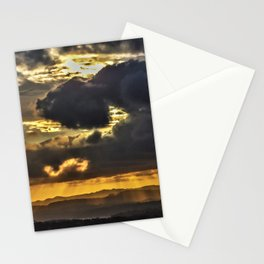 Sun Rays beaming down on a mountainous landcape Stationery Cards