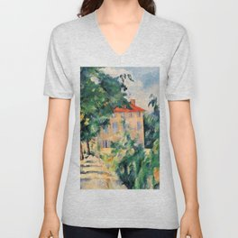 """Paul Cezanne """"House with red roof"""", 1890 Unisex V-Neck"""