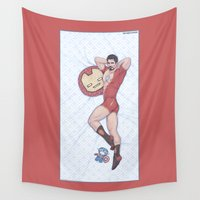 pinup Wall Tapestries featuring Tony Pinup  by KARADIN
