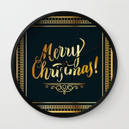 Merry Christmas in Gold Wall Clock
