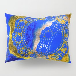 Royal Blue and Gold Abstract Lace Design Pillow Sham