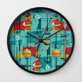 Retro Ornaments in Red Wall Clock