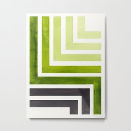 Sap Green Mid Century Modern Watercolor Colorful Ancient Aztec Art Pattern Minimalist Geometric Patt Metal Print