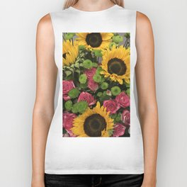 Sunflowers and Little Red Roses Biker Tank
