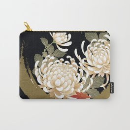 White Peonies Red Maple Leaves Japanese Kimono Pattern Carry-All Pouch