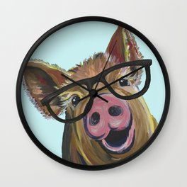 Cute Pig, Pig Art, Farm Animal Wall Clock