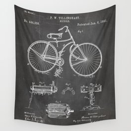 Bicycle Patent - Cyclling Art - Black Chalkboard Wall Tapestry