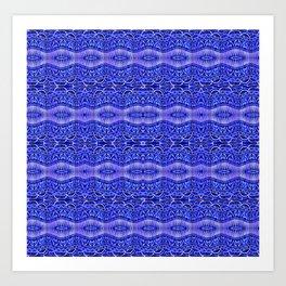 Ancient Thread Pattern Blue Art Print