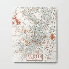Austin City Map of Texas, USA - Bohemian Metal Print