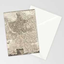 Vintage Map Print - 1748 map of Rome Stationery Cards