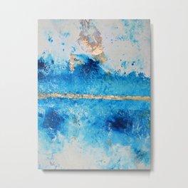 Rainy Day: a pretty minimal abstract mixed media piece in blue & gold by Alyssa Hamilton Art Metal Print