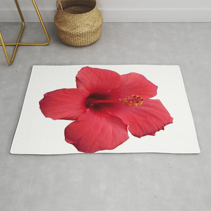 Stunning Red Hibiscus Flower Rug