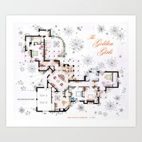 The Golden Girls House floorplan v.1 Art Print