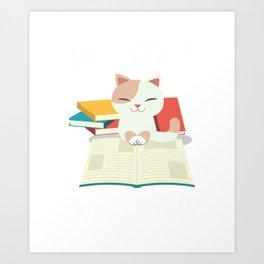 Cat Book Reader Kitty addicted Bookworm Literature Art Print