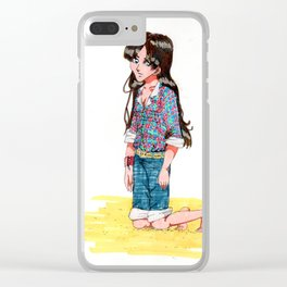 Clara on the sand Clear iPhone Case