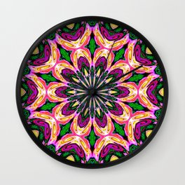 Abstract colorful Heart Flower Seamless Pattern Vector illustration Wall Clock