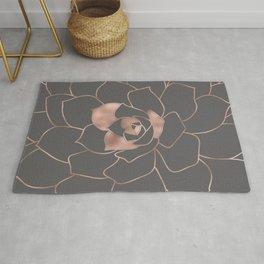 Rosegold  blossom on grey - Pink metal - effect flower Rug