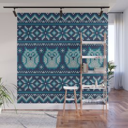 Winter Holiday Knitted Pattern Wall Mural