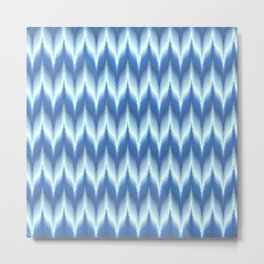 Bargello Pattern in Blue and White Metal Print