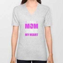 Tee Ball Moms Full Heart Mothers Day T-Shirt Unisex V-Neck