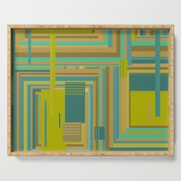 Urban Cactus, graphic design in green tan aquamarine brown teal blue Serving Tray