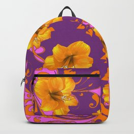 TROPICAL YELLOW & GOLD AMARYLLIS FLOWERS PATTERN Backpack