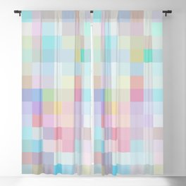 geometric square pixel pattern abstract in blue and pink Blackout Curtain