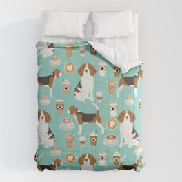 Beagle coffee print cute dog beagles coffees lattes Comforters