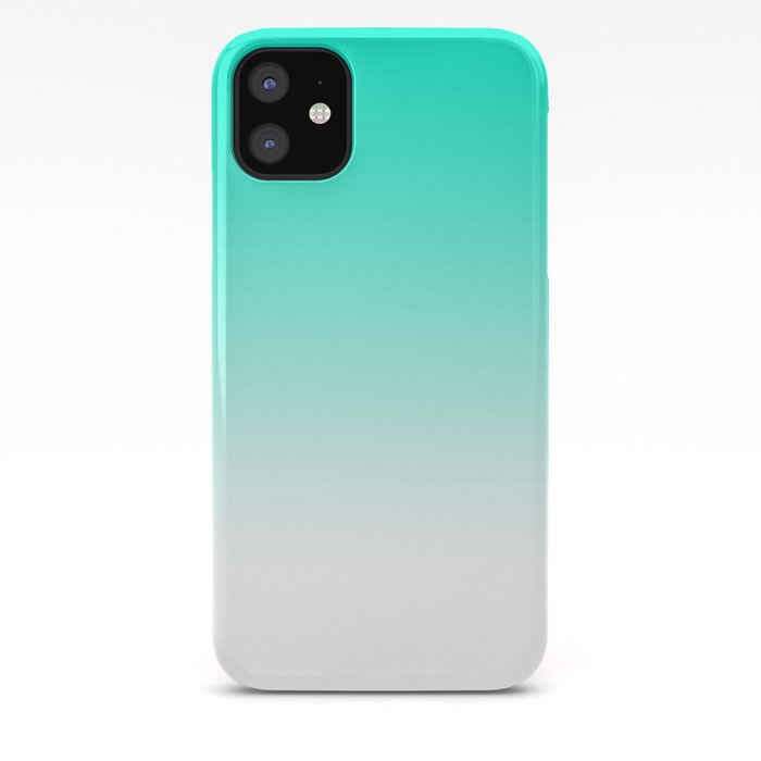 Modern Bright Simple Mint Green White Color Ombre Gradient Iphone Case By Girlytrend