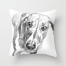 Dachshund Portrait in Black and White Throw Pillow