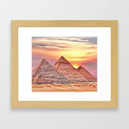 Pyramid Sunset Airbrush Artwork Framed Art Print