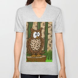 Gerald the Owl Stumped! Unisex V-Neck