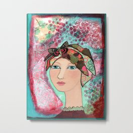 Girl at Peace Metal Print