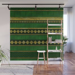 Celtic Knot Decorative Gold and Green pattern Wall Mural