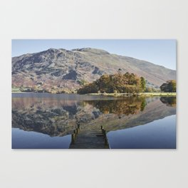 Jetty and autumnal colour. Ullswater, Cumbria, UK. Canvas Print