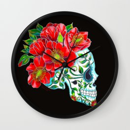 Sugar Skull with Red Poppies Wall Clock