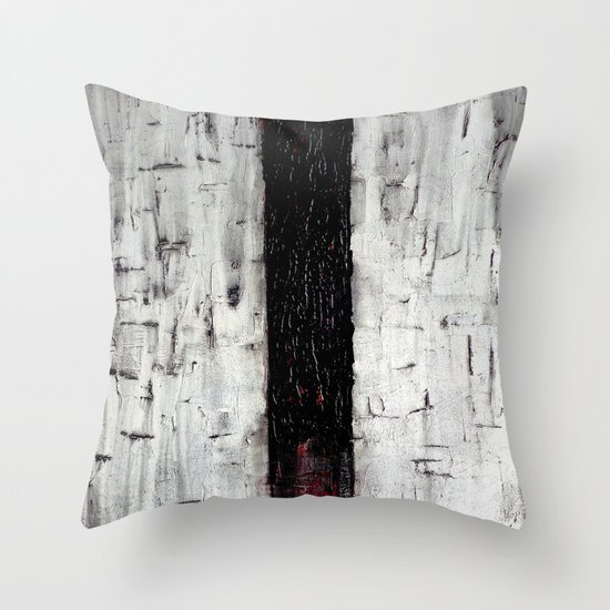 Dark Path - Black and white abstract Throw Pillow