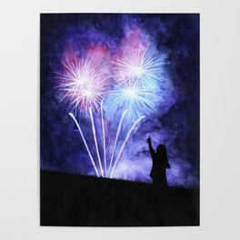Blue and pink fireworks Poster