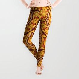 Golden mandalas pattern Leggings