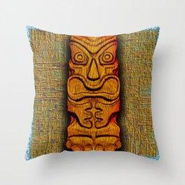 Tiki Tile Wood Carving Throw Pillow