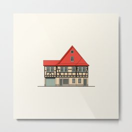 Half-timbered house with red roof Metal Print