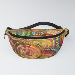Colorful Circular Tribal  pattern with gold Fanny Pack