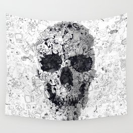 Doodle Skull BW Wall Tapestry