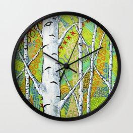Sunset Sherbert Birch Forest by Mike Kraus - art aspen trees forest woods nature surreal trippy Wall Clock