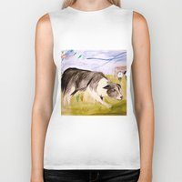 border collie Biker Tanks featuring Border Collie by Caballos of Colour