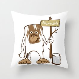 Sasquatch Abominable Painted Throw Pillow